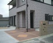 樹脂舗装にレンガのポイント オープンタイプ 橋本市