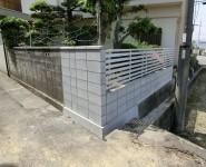 塀の傾き改修工事 境界コンクリートブロック積み 岩出市