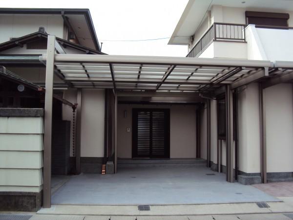 玄関廻りリフォーム ポーチ屋根新設工事 三協アルミ Uスタイル 1