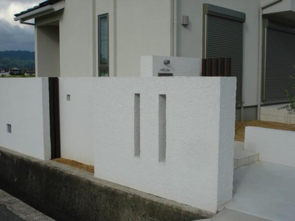 アルミ角材と塗り壁でスクリーン 紀の川市4