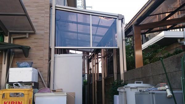 既設のテラスにサイドパネルを設置 和歌山市1