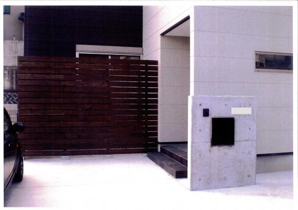 おしゃれなウッドスクリーンとコンクリート打ち放し門柱 和歌山市1