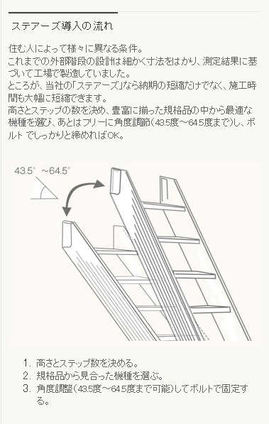 ステアーズ 角度調整機能付アルミ外部階段 森田アルミ2
